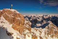 Beautiful view from highest mountain peak Zugspitze near Garmisch Partenkirchen. Bavaria, Germany. Stock Photo