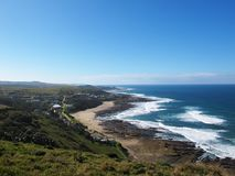 View on Haga-Haga village, South Africa. Beautiful view from hill on Haga-Haga village on Wild Coast, South Africa stock image