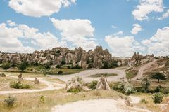 Beautiful view of the hills of Cappadocia. One of the sights of Turkey. Tourism, travel, beautiful landscapes, nature. Beautiful view of the hills of Cappadocia Royalty Free Stock Images