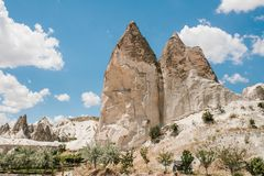 Beautiful view of the hills of Cappadocia. One of the sights of Turkey. Tourism, travel, beautiful landscapes, nature. Beautiful view of the hills of Cappadocia Stock Images