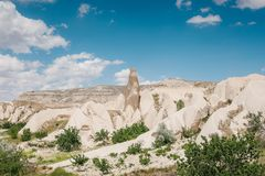 Beautiful view of the hills of Cappadocia. One of the sights of Turkey. Tourism, travel, beautiful landscapes, nature. Beautiful view of the hills of Cappadocia Stock Photography