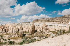 Beautiful view of the hills of Cappadocia. One of the sights of Turkey. Tourism, travel, beautiful landscapes, nature. Beautiful view of the hills of Cappadocia Royalty Free Stock Image