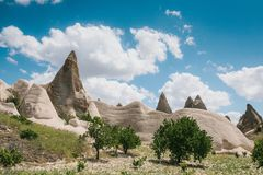 Beautiful view of the hills of Cappadocia. One of the sights of Turkey. Tourism, travel, beautiful landscapes, nature. Beautiful view of the hills of Cappadocia Stock Photos