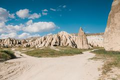Beautiful view of the hills of Cappadocia. One of the sights of Turkey. Tourism, travel, beautiful landscapes, nature. Beautiful view of the hills of Cappadocia Royalty Free Stock Photography