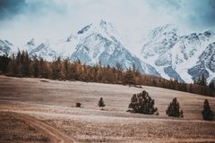 Beautiful view of the hills with a dirt road to the snowy peaks. Stock Images