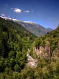 Beautiful view of Himalayan mountains on the trekking route to Kheerganga, Nakthan, Parvati valley, India. Beautiful view of Himalayan mountains on the trekking Stock Photo