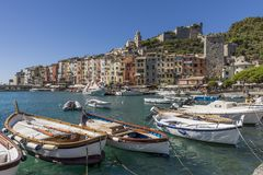 Beautiful view of the historic center of Portovenere on a sunny day, Liguria, Italy stock images