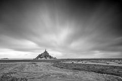 Le Mont Saint-Michel black and white Stock Image