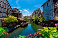 Beautiful view of the historic town of Colmar, also known as Little Venice, France. Beautiful view of the historic town of Colmar, also known as Little Venice Stock Photos