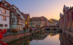Beautiful view of the historic town of Colmar. Also known as Little Venice. Amazing traditional colorful houses located on idyllic river Lauch, Colmar, Alsace Stock Images