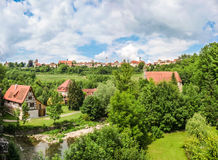 Beautiful view of the historic town of Rothenburg ob der Tauber skyline, Franconia, Bavaria, Germany Stock Image