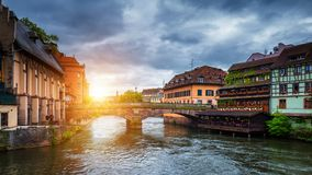 Beautiful view of the historic town of Strasbourg, colorful houses on idyllic river. Strasbourg, France stock image