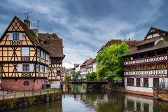 Beautiful view of the historic town of Strasbourg, colorful houses on idyllic river. Strasbourg, France royalty free stock image
