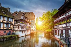 Beautiful view of the historic town of Strasbourg, colorful hous Stock Photography