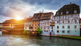 Beautiful view of the historic town of Strasbourg, colorful hous stock image