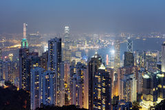 Beautiful view of Hong Kong city from the Victoria Peak Stock Image