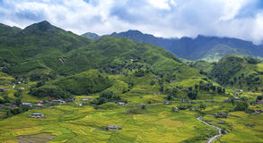 Beautiful view of house and village in rice terrace at tu le ,mu cang chai Royalty Free Stock Photos