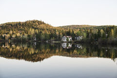 Beautiful view of houses on the Lake and Mountain Royalty Free Stock Photos