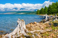 A beautiful view of the Hovsgol lake and the Eastern Sayan ridge. Mongolia Royalty Free Stock Photography
