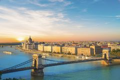 Beautiful view of the Hungarian Parliament and the chain bridge in the panorama of Budapest at night, Hungary Royalty Free Stock Photos