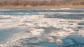 Beautiful view of the ice drift on the river in the spring. Sandy beach with trees. stock video