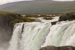 Beautiful view on icelandic waterfall in iceland goddafoss stock photography