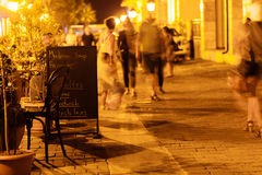 Beautiful view of illuminated street cafe in Tbilisi at night Royalty Free Stock Images