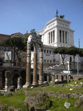 Beautiful view of Imperial Forum in Rome Royalty Free Stock Images