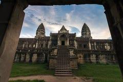View from inside an Angkor Wat in Siem Reap, Cambodia. Beautiful view from inside an Angkor Wat in Siem Reap, Cambodia royalty free stock photo