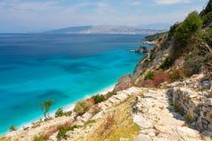 Beautiful view on ionian sea on Mirrors' beach between Ksamil and Saranda in Albania royalty free stock photo