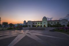 Beautiful view of Ipoh Railway Station,Perak,Malaysia. With stunning sunset. Soft focus,motion blur due to long exposure Stock Photos