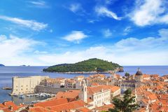 Beautiful view of the island of Lokrum near the historic city of Dubrovnik, Croatia Royalty Free Stock Image