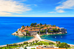 Beautiful view of the island-resort of St. Stefan Sveti Stefan on the Budva Riviera, Budva, Montenegro. On a sunny day stock photo
