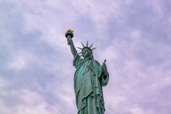 Beautiful view  Statue of Liberty. Liberty Island in New York. Harbor in New York.  stock photo