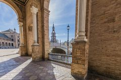 Beautiful view of its bridge and river from a side corridor of the Plaza de Espana royalty free stock image