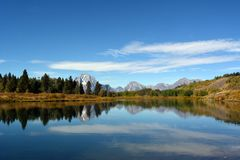 Beautiful view of Jackson Lake in the Jackson Hole Valley in the Grand Teton park. stock photos