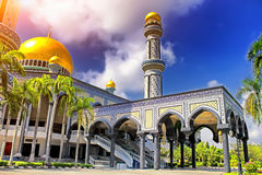 Beautiful View of Jame Asr Hassanil Bolkiah Mosque and blue sky Stock Photo