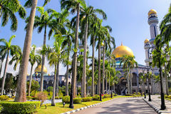 Beautiful View of Jame Asr Hassanil Bolkiah Mosque with Green Pl Royalty Free Stock Images