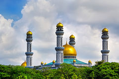 Beautiful View of Jame Asr Hassanil Bolkiah Mosque with Green Royalty Free Stock Photos
