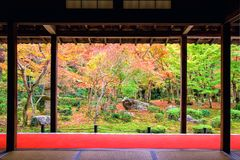 Enkoji temple with autumn garden, Kyoto. Beautiful view of japanese fall garden during autumn season at Enkoji temple in Kyoto, Japan. Kansai Travel destination Royalty Free Stock Images