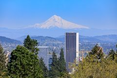 Beautiful view from japanese garden in Portland. Oregon, USA Stock Photos