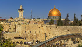 Beautiful view of the Jerusalem against the blue sky. Stock Photo