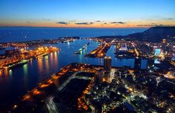 Beautiful View of Kaohsiung Port at Evening Time Stock Photo