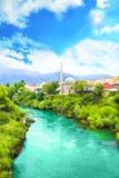 Beautiful view of the Karadjozbegov mosque jamia on the banks of the Neretva River in Mostar, Bosnia and Herzegovina Stock Photos