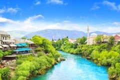 Beautiful view of the Karadjozbegov mosque jamia on the banks of the Neretva River in Mostar, Bosnia and Herzegovina Royalty Free Stock Photo