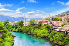 Beautiful view of the Karadjozbegov mosque jamia on the banks of the Neretva River in Mostar, Bosnia and Herzegovina Royalty Free Stock Photography