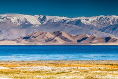 Nice view of Pamir in Tajikistan. Beautiful view of  Karakul lake in Pamir in Tajikistan Stock Image