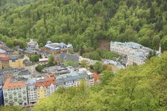 Beautiful view of Karlovy Vary, Czech Republic. On a sunny day stock photo