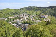 Beautiful view of Karlovy Vary, Czech Republic. On a sunny day royalty free stock photos