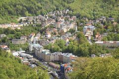 Beautiful view of Karlovy Vary, Czech Republic. On a sunny day stock images